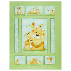 Susybee Lyon the Lion 36'' Quilt Panel Green Fabric