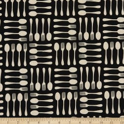 Kaufman Sevenberry Cotton Flax Prints Utensils Black Fabric
