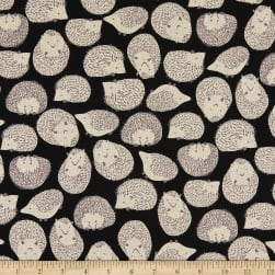 Kaufman Sevenberry Cotton Flax Prints Porcupines Black Fabric