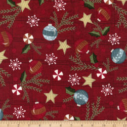 Maywood Studio Snowdays Flannel Trimmings Red Fabric