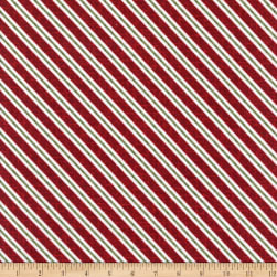 Maywood Studio Snowdays Flannel Candy Cane stripe Red Fabric