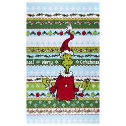 Kaufman How The Grinch Stole Christmas Stripe 24'' Panel Holiday Fabric