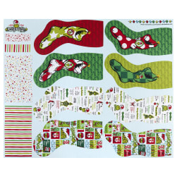 Kaufman How The Grinch Stole Christmas Stockings 36'' Panel Holiday Fabric