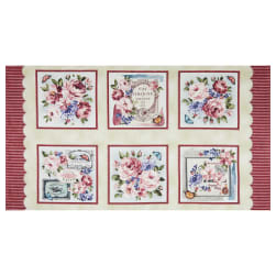 Michael Miller Fragrant Roses Pink Roses de Provence 24'' Panel Pink Fabric