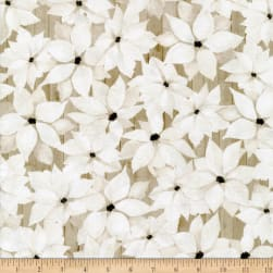 P&B Textiles Sophisticated Christmas Flowers Neutral Tan