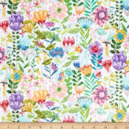Michael Miller Minky Be Kind To Everything That Grows Fanciful Flowers White Fabric