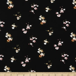 Fabric Merchants Double Brushed Poly Stretch Jersey Knit Small Floral Clusters Black