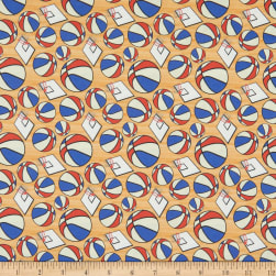 Super Sports Basketball and Hoops Red/Blue/White Fabric