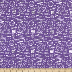 Super Sports Volleyball Text Purple Fabric