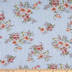 Double Brushed DTY Stretch Knit Floral Stripe Sky Blue Fabric