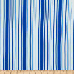 Double Brushed DTY Stretch Knit Multi Width Stripes White/Blue Fabric