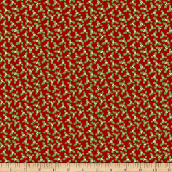 Snow Place Like Home Flannel Tossed Holly Leaves Red Fabric