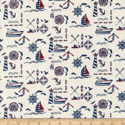 Natural Linen Blend Print Boating Ivory/Blue/Red Fabric