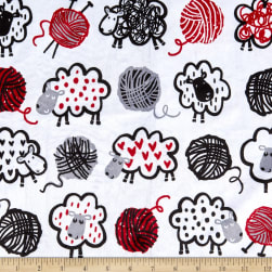 Michael Miller Minky Love To Knit Do Ewe Knit White Fabric