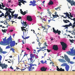 Texco Washed Chiffon Botanical Floral Print Off White/Blue