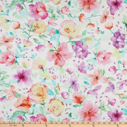 Timeless Treasures Digital Spring Song Watercolor Medium Floral White Fabric