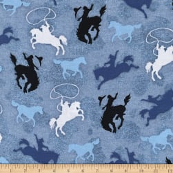Henry Glass Sunset Rodeo Tossed Riding Broncos Blue Fabric