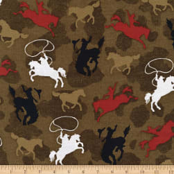 Henry Glass Sunset Rodeo Tossed Riding Broncos Brown Fabric