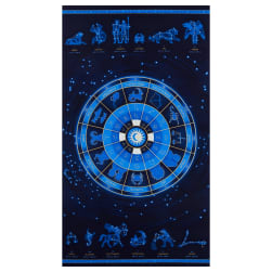 Henry Glass Metallic Signs From Above Zodiac Wheel 24'' Panel Navy Fabric