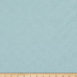 Telio Cotton Double Gauze Eyelet Embroidery Celestial Blue Fabric