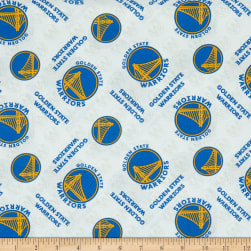 NBA Golden State Warriors Cotton Broadcloth White Fabric