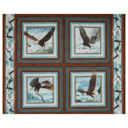 Wild Wings Digital Quest Of The Hunter Pillow 36'' Panel Blue Fabric
