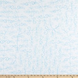 Embroidered Woven Voile White Sands  Aqua Fabric