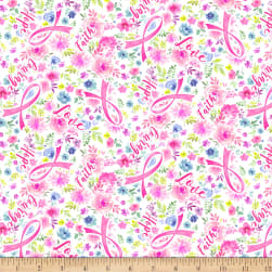 Timeless Treasures Stretch Jersey Knit Ribbon Floral Pink