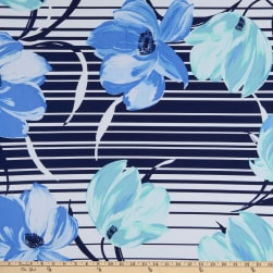 Fabtrends ITY Floral Stripe Blue/Jade Fabric