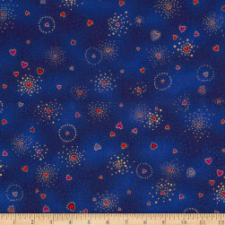 Laurel Burch Basics Hearts Blue Metallic Fabric