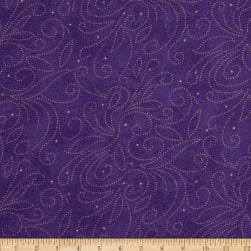 Westrade 110'' Wide Quilt Backing Scroll Purple Fabric