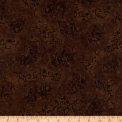 """108"""" Wide Essentials Quilt Backing Scroll Brown"""