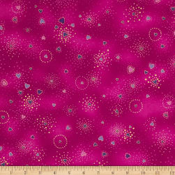 Laurel Burch Basics Hearts Fuchsia Metallic Fabric