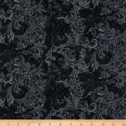 "108"" Flourish Quilt Backing Black"