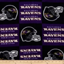 NFL Fleece Baltimore Ravens Squares Black/Purple Fabric