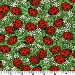 Lady Bugs & Daisies Spring Green