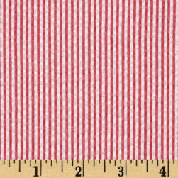Kaufman Classic Seersucker Stripe Red/White Fabric