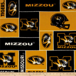 Collegiate Fleece University of Missouri Blocks Black/Gold Fabric