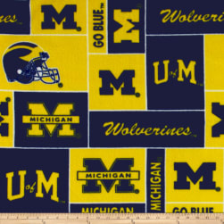 Collegiate Fleece University of Michigan Blocks Fabric