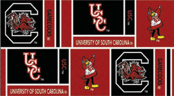 Collegiate Cotton Broadcloth University of South Carolina Squares Red/Black