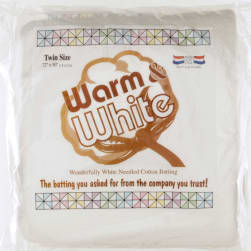 Warm & White Cotton Batting (72'' x 90'')  Twin Size