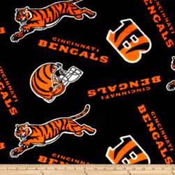 NFL Fleece Cincinnati Bengals Black/Orange Fabric