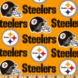 NFL Cotton Broadcloth Pittsburgh Steelers Yellow/Black Fabric
