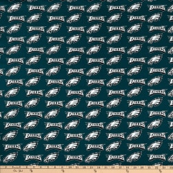 NFL Cotton Broadcloth Philadelphia Eagles Green/Silver/White Fabric