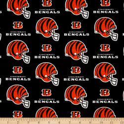 NFL Cotton Broadcloth Cincinnati Bengals Helmets Orange/Black