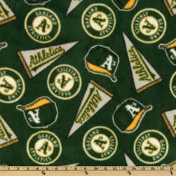 MLB Fleece Oakland Atheletics Green/Yellow/White Fabric