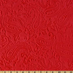 Shannon Minky Cuddle Embossed Paisley Red Fabric