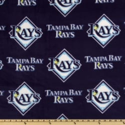 MLB Fleece Tampa Bay Rays Allover Navy/White Fabric