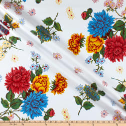Oilcloth Mums White Fabric