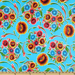 Oilcloth Bloom Light Blue Fabric